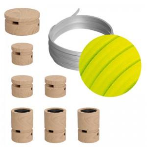 Kit Linear do Sistema Filé - com cordão de luzes de 5mt e 7 componentes de madeira para interior.