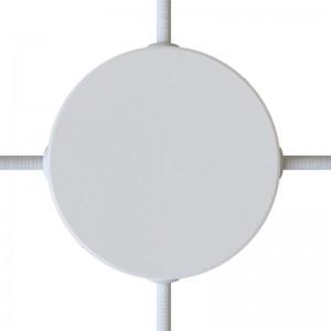 Kit de rosácea de teto cilíndrica em metal com 4 furos laterais (caixa de junção)