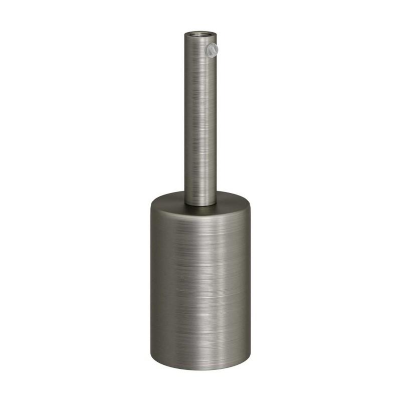 Kit de casquilho cilíndrico E27 em metal com braçadeira de cabo de 7 cm