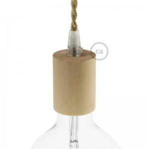 Kit de casquilho E27 em madeira