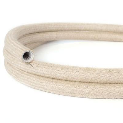 Tubo Flexivel Creative-Tube, coberto por tecido Linho Natural Neutro RN01, diametro 20 mm