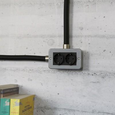Caixa revestida a metal com tomada Schuko dupla para Creative-Tube