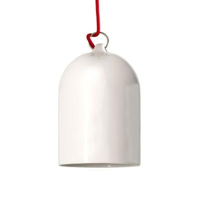 Candeeiro suspenso com cabo têxtil e abajur Mini Bell XS em cerâmica - Fabricado em Itália