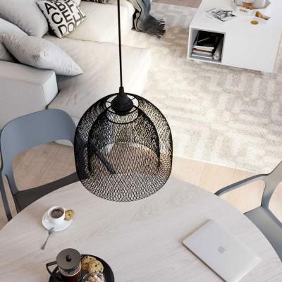 Candeeiro suspenso com cabo têxtil, abajur de grade XL Ghostbell e detalhes em metal - Fabricado em Itália