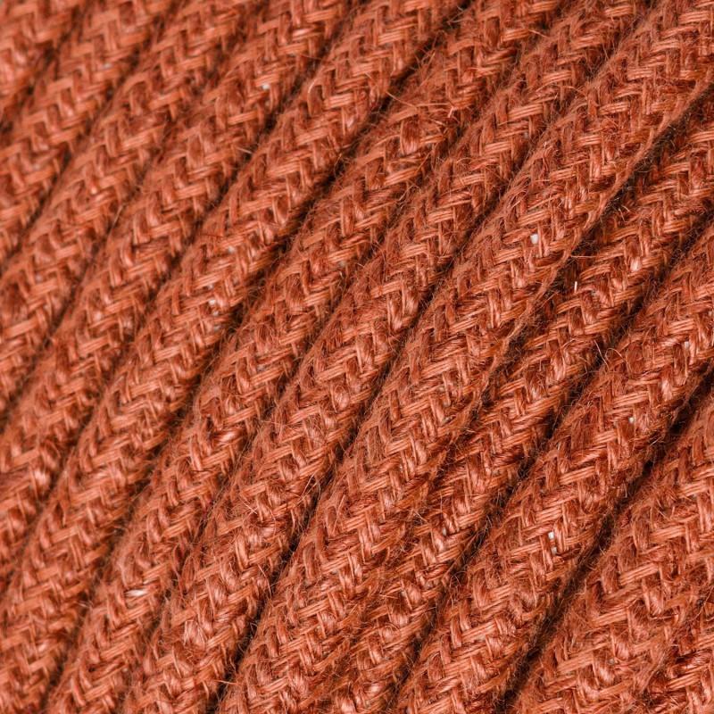 Cabo elétrico redondo revestido a Juta Plain Orange Clay RN27