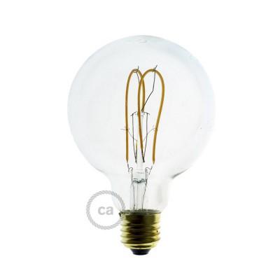 Lâmpada Transparente LED - Globe G95 Filamento Curvo Duplo Loop - 5W E27 Dimável 2200K