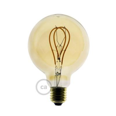 Lâmpada Golden LED - Globe G95 Filamento Curvo Duplo Loop - 5W E27 Dimável 2000K