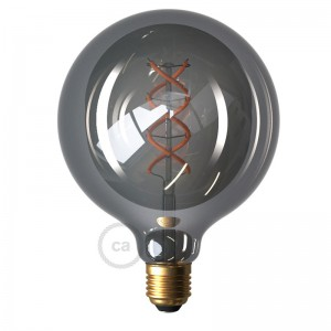 Lâmpada LED Smoky - Globo G125 Filamento Curvo Espiral - 5W E27 Regulável 2000K